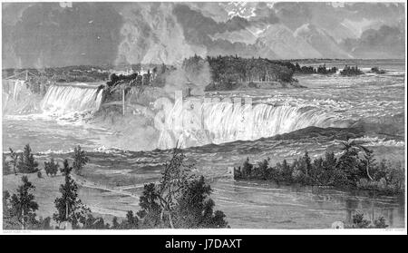 An engraving of Niagara Falls scanned at high resolution from a book printed in 1872.  Believed copyright free. - Stock Photo