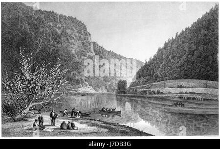 An engraving of Delaware Water Gap scanned at high resolution from a book printed in 1872.  Believed copyright free. - Stock Photo