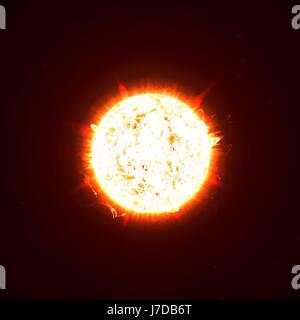 Burning realistic 3D sun, flashes, glare, flare, sparks, flames, heat and fire rays. Orange, hot, cosmic red planet - Stock Photo