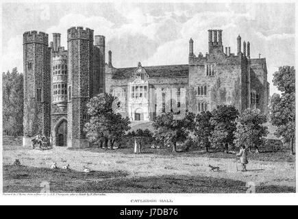 An engraving of Catledge Hall (as it stood in 1800) Cambridgeshire scanned at high resolution from a book printed - Stock Photo