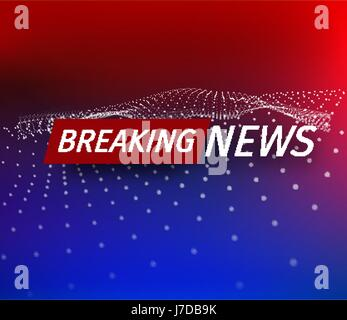 Announcement and a message line with a message about the latest news on the air on a futuristic red and blue background - Stock Photo