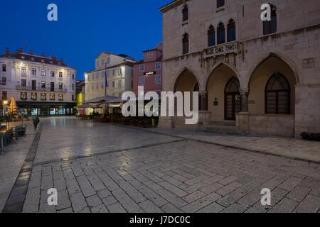 Narodni Trg in the center of city Split at night, Dalmatia, Croatia - Stock Photo