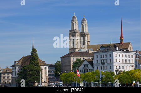 the grossmnster in zurich - Stock Photo