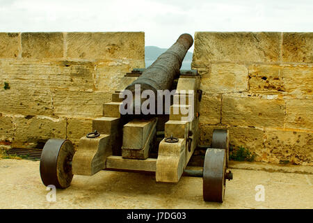 cannon on it castel - mallorca - Stock Photo