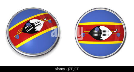 flag button banner pin sticker swaziland stickers round ring travel isolated - Stock Photo