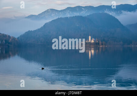 Morning by the Lake Bled - Stock Photo