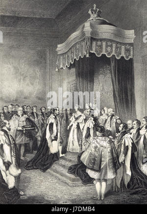 Napoleon III Order of the Garter ceremony, April 18 1855 - Stock Photo