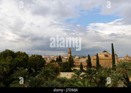 spain andalusia urban cordoba house building tower city town tree cloud europe - Stock Photo