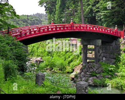 garden bridge traditional japanese japan rural red river water peasant culture stock photo