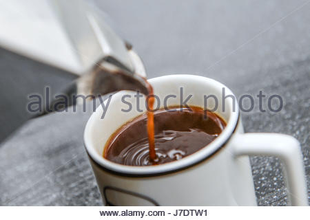 Embargoed to 0001 Thursday May 25 File photo dated 07/03/16 of someone pouring a cup of coffee as increasing coffee - Stock Photo