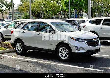 All New 2018 Chevrolet Equinox lined up on the lot ready to be sold. Grieco Chevrolet Fort Lauderdale Florida May - Stock Photo