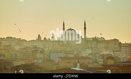 Silhouette of a Mosque Fatih in a fog and sunlight reflections. Vintage style. - Stock Photo