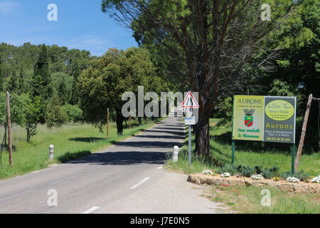 Entering Aurons (Provence) - Stock Photo