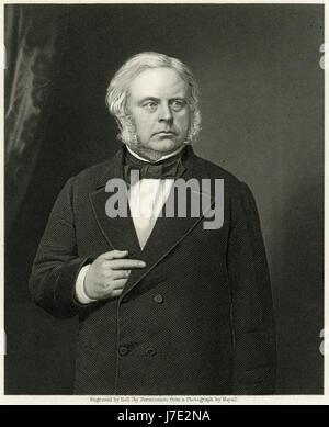 Antique c1860 engraving, John Bright. John Bright (1811-1889), Quaker, was a British Radical and Liberal statesman, - Stock Photo