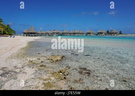 Tropical resort with thatched bungalows over water in the lagoon, atoll of Tikehau, Tuamotu archipelago, French - Stock Photo