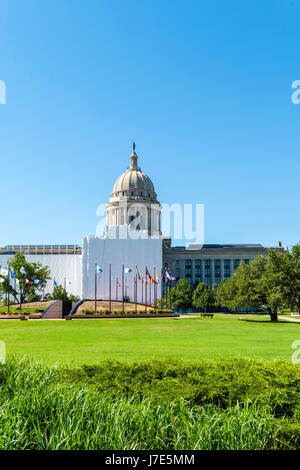 Oklahoma State Capitol built from limestone and marble, is under tarps while renovations are completed in 2022 in - Stock Photo