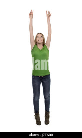 Woman hands arms pointing holding something - Stock Photo
