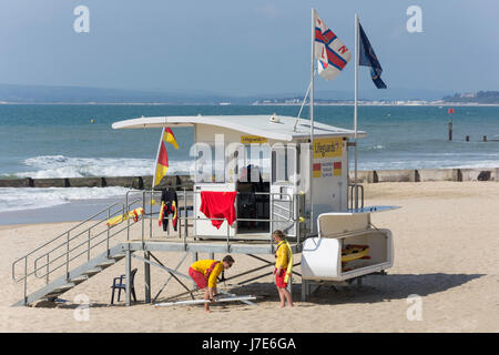 Royal National Lifeboat Institution (RNLI) Lifeguard lookout station on beach, Boscombe, Bournemouth, Dorset, England, - Stock Photo