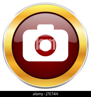 Photo camera red web icon with golden border isolated on white background. Round glossy button. - Stock Photo