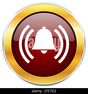 Alarm red web icon with golden border isolated on white background. Round glossy button. - Stock Photo