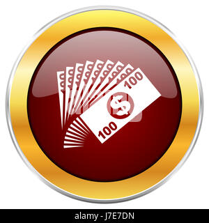 Money red web icon with golden border isolated on white background. Round glossy button. - Stock Photo