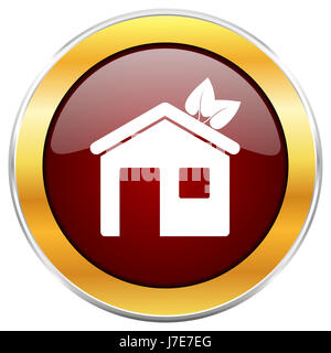 House red web icon with golden border isolated on white background. Round glossy button. - Stock Photo