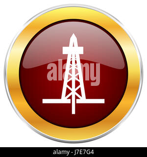 Drilling red web icon with golden border isolated on white background. Round glossy button. - Stock Photo