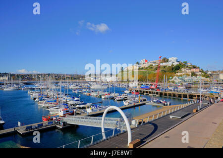 Torquay Devon harbour with boats and yachts UK tourist destination blue sky and sea - Stock Photo