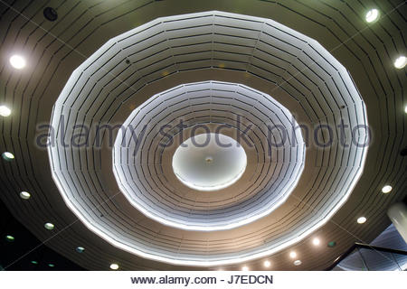 Miami Beach Florida 41st Street Sheridan Center centre lobby ceiling design lighting concentric circles - Stock Photo