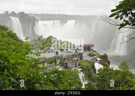 Iguazu Falls, Brazilian Falls from walkway near Devil's throat, Brazil - Stock Photo