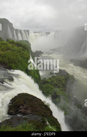 Iguazu Falls, Brazilian Falls from walkway near Devil's throat, Brazil - Stock Photo