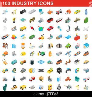 100 industry icons set, isometric 3d style - Stock Photo
