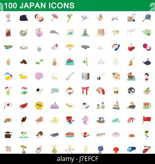 100 japan icons set, cartoon style - Stock Photo
