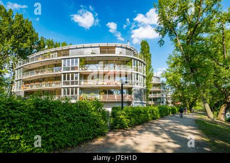 Modern luxury apartment buildings beside River Spree near Rummelsburg in Berlin, Germany - Stock Photo