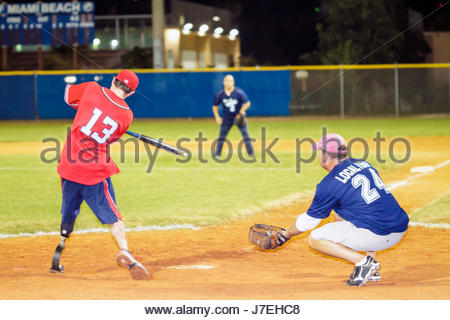 Miami Beach Florida Flamingo Park WWAST Wounded Warrior Amputee Softball Team disabled veterans soldiers rehabilitated - Stock Photo