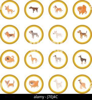 Dog icon circle - Stock Photo