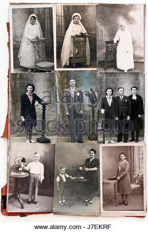 collage with family portrait memory moments 1940s France - Stock Photo