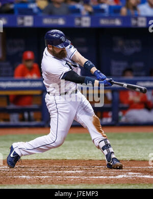 May 23, 2017 - Tampa Bay Rays catcher Derek Norris (33) hits into a fielder's choice to end the 5th inning in the - Stock Photo