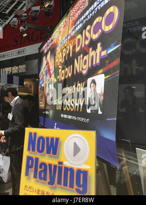 May 23, 2017 - Tokyo, Japan - A sales person stand near a Music CDs store in the Ginza District in Tokyo Japan during - Stock Photo