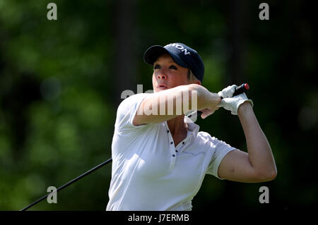 Virginia Water, Surrey, UK. 24th May, 2017. Georgie Bingham drives from the 15th in the Pro-Am event prior to the - Stock Photo