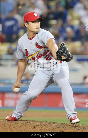 Los Angeles, CA, USA. 24th May, 2017. St. Louis Cardinals relief pitcher Seung-Hwan Oh #26 pitches in relief in the game between the St. Louis Cardinals and the Los Angeles Dodgers, Dodger Stadium in Los Angeles, CA. Peter Joneleit /CSM/Alamy Live News