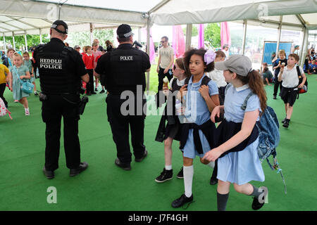 Hay Festival 2017 - Hay on Wye, Wales, UK - May 2017 - Armed police officers patrol the  opening day of this years - Stock Photo