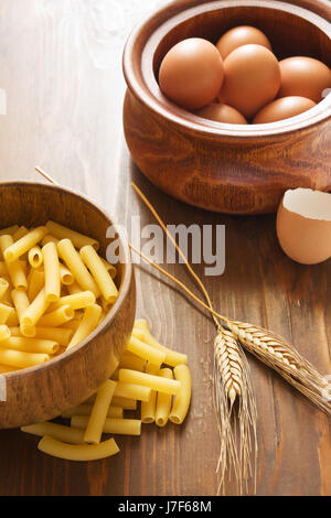 food aliment wood italian egg ingredients pasta healthy food aliment beautiful - Stock Photo