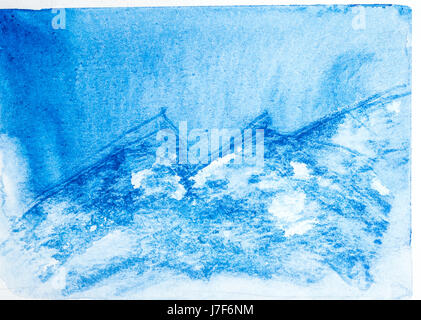 Abstract mountain landscape with watercolor paint. Drawing on wet paper. In the style of a la prima. Mountains in - Stock Photo