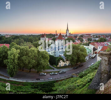 Aerial View of Tallinn Old Town from Toompea Hill at Dawn, Tallinn, Estonia - Stock Photo