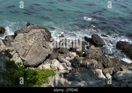fisherman silhouette on the rocks of sea in Busan - Stock Photo