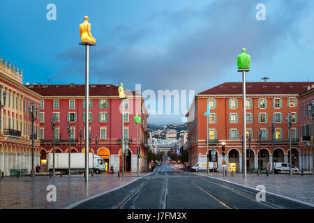 Massena Place in the Morning, Nice, France - Stock Photo