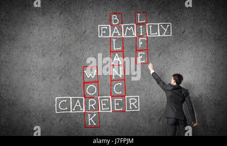 Seminar trainer draw on chalkboard - Stock Photo