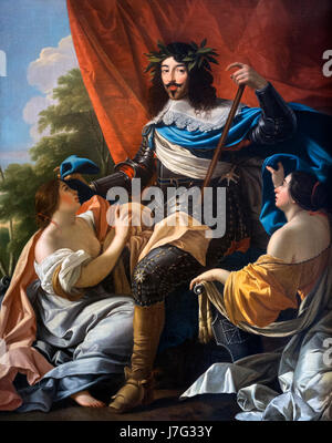 Portrait of King Louis XIII of France (1601-1643), studio of Simon Vouet, oil on canvas, c.1640 - Stock Photo