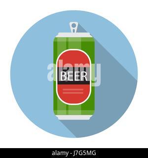 Beer Bottle Template in Modern Flat Style Icon on White. Materia - Stock Photo